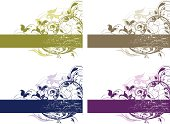 Vector file of delicate flowing Arabesque and scroll banners in 4 color variations. Add the text of your choice or change colors easily. All elements on seperate layers and grunge can be turned off if needed. Includes AI and EPS files and hi-res JPG. Good for page edges and coners or mirror the design for a symmetrical header or footer. Banner portion can be easily scaled larger or smaller to accommodate your text.