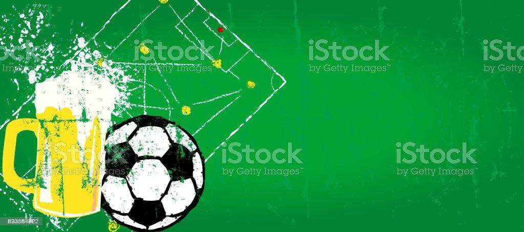 Grunge Fußball und Bier-Design-Vorlage Lizenzfreies grunge fußball und bierdesignvorlage stock vektor art und mehr bilder von anstoß - sportbegriff