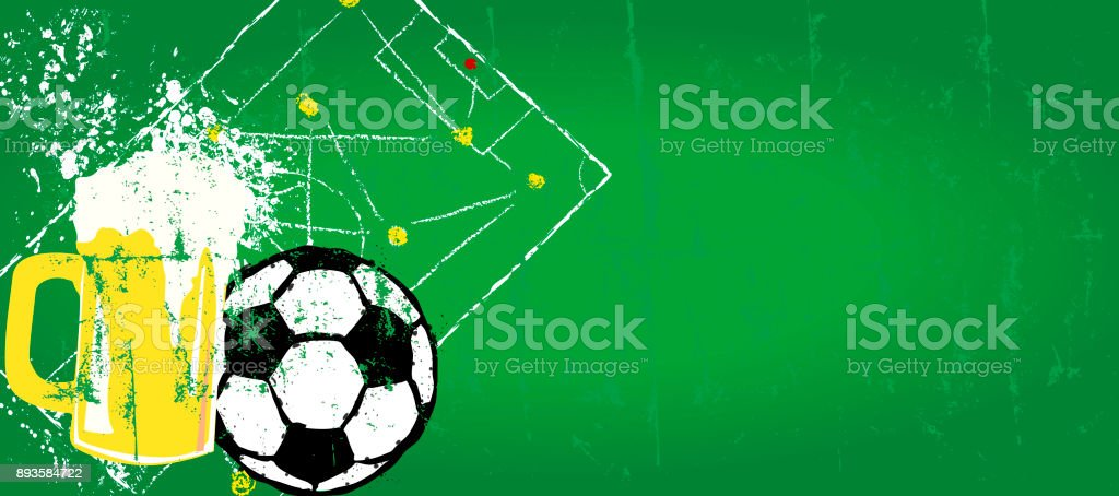 grungy Soccer and beer design template vector art illustration