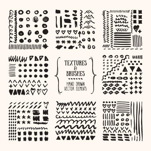 illustrazioni stock, clip art, cartoni animati e icone di tendenza di grungy textures, tribal pattern, brush strokes. design template collection. abstract vector clipart set isolated on white background. - ninnolo