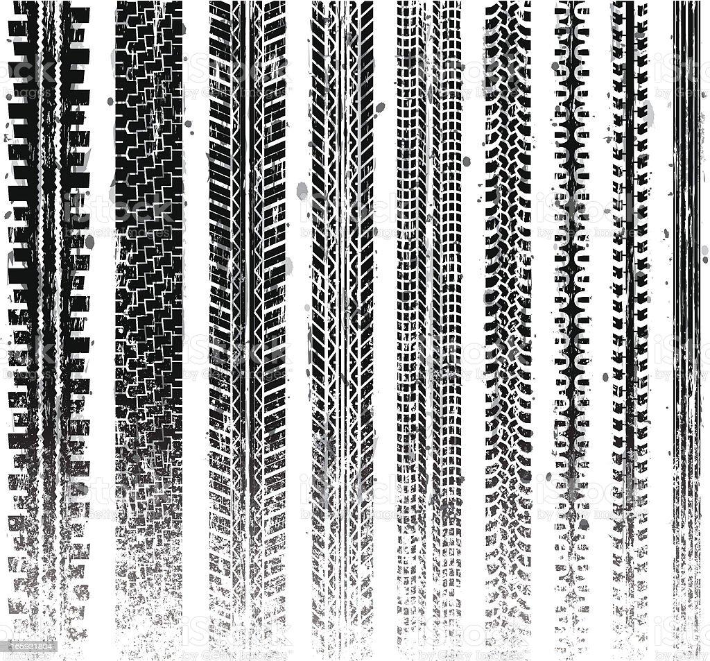 Grungy Tire Tracks vector art illustration