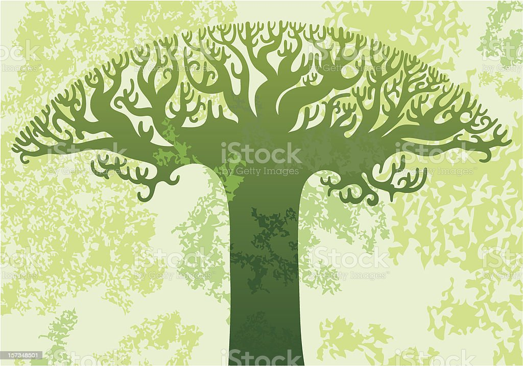 Grungy tree background vector art illustration
