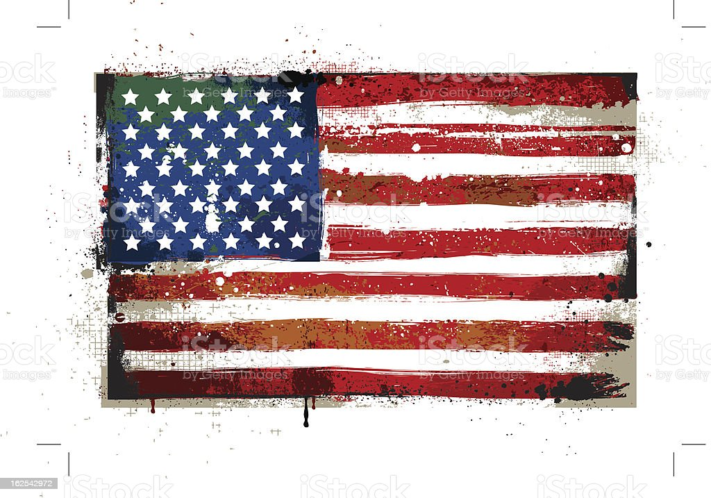 Grungy USA flag vector art illustration