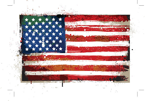 Grungy USA flag Grungy USA flag. EPS 8 vector illustration. distressed american flag stock illustrations