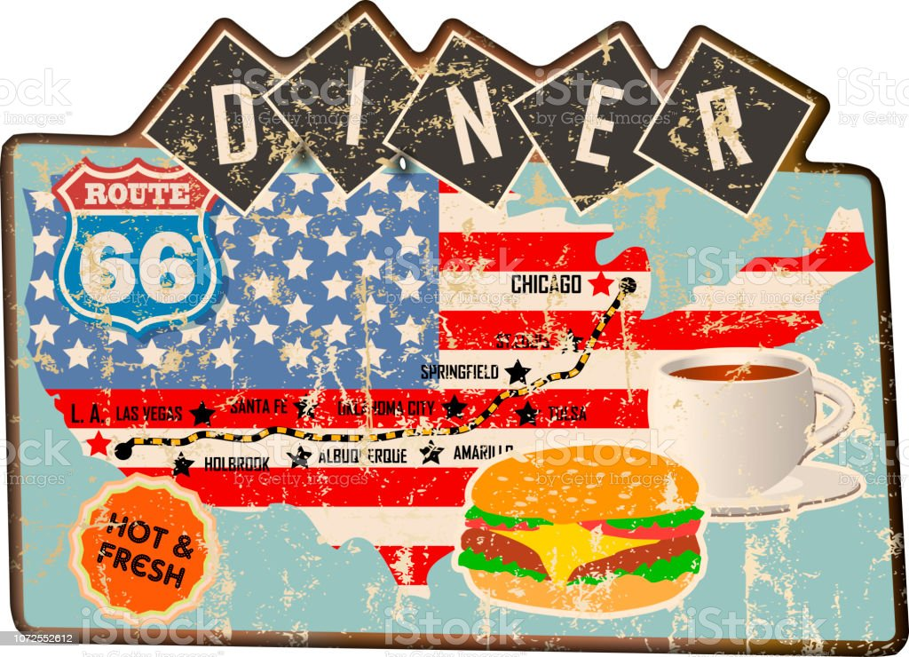 grungy vintage diner sign, retro style, vector art illustration