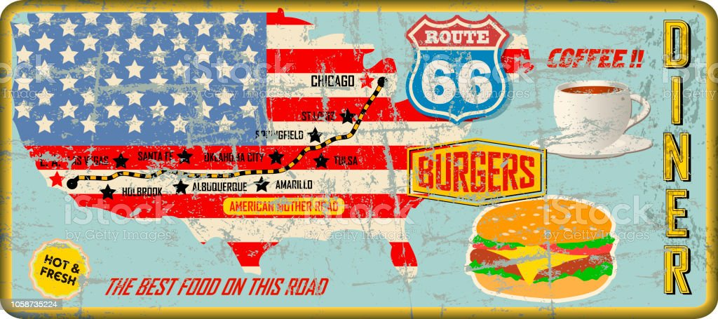grungy vintage route 66 diner sign, retro style, vector art illustration