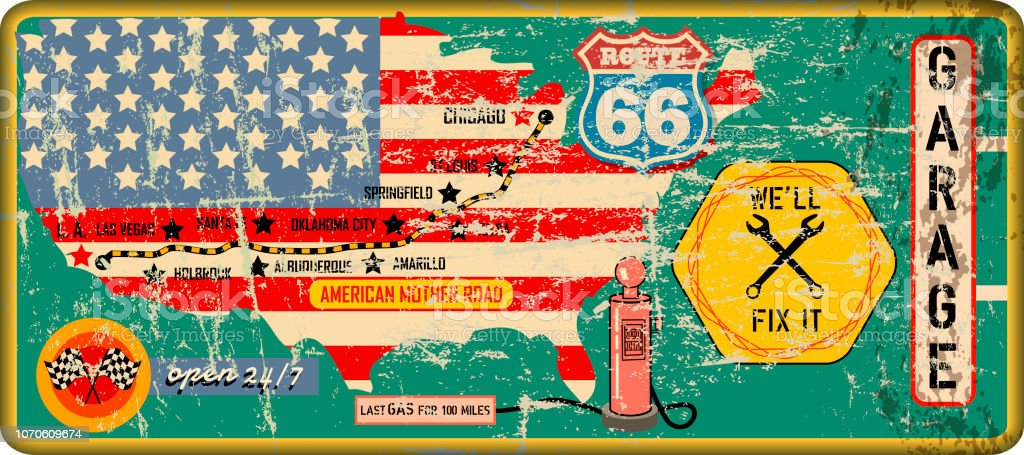 Grungy Vintage Route 66 Garage And Gas Station Sign And Road ... on gas station vintage route 66, gas stations on route, gas station signs, gas station attendant job description, gas station murals, gas station pump, gas station 1950s, gas station clip art, gas stations along i-81,