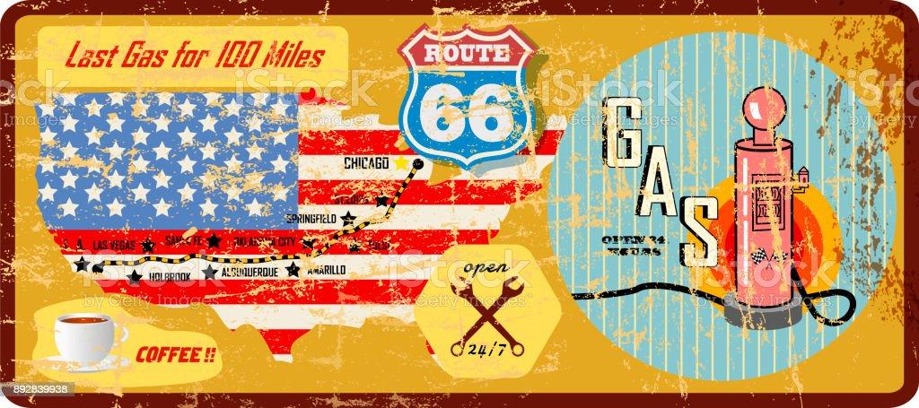 Grunge Vintage Route 66 Tankstelle Zeichen und Fahrplan – Vektorgrafik