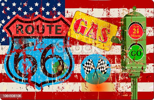 route 66 gas station sign and USA flag,retro vintage grungy vector illustration, Fictional artwork.
