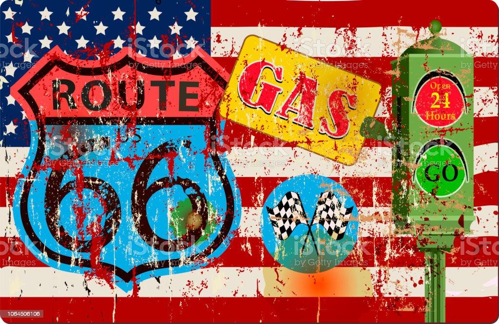 Grunge Vintage Route 66 Tankstelle Zeichen und USA-Flagge – Vektorgrafik