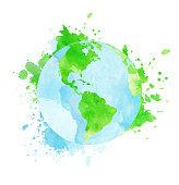 Grungy watercolor globe