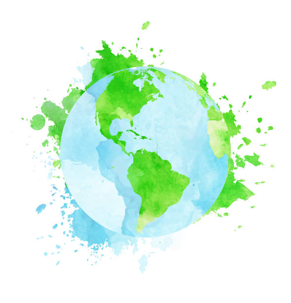 grungy watercolor globe - world map stock illustrations, clip art, cartoons, & icons