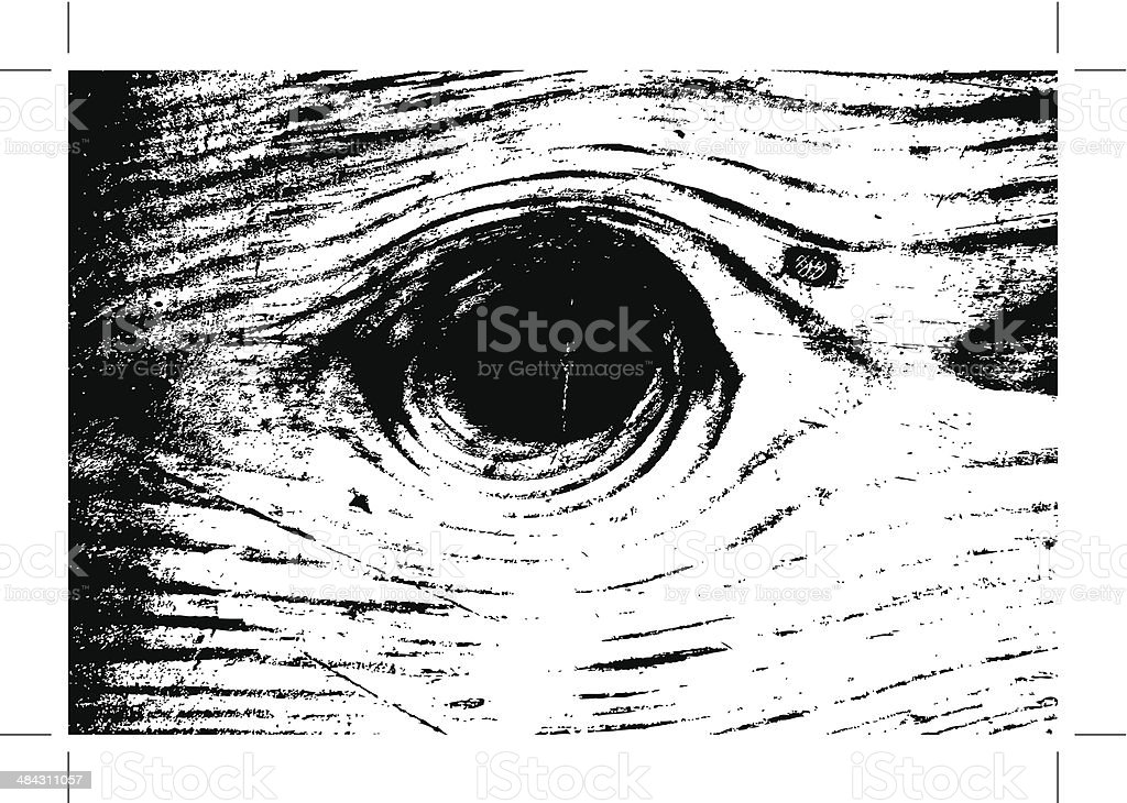 grungy wood with knot texture vector art illustration