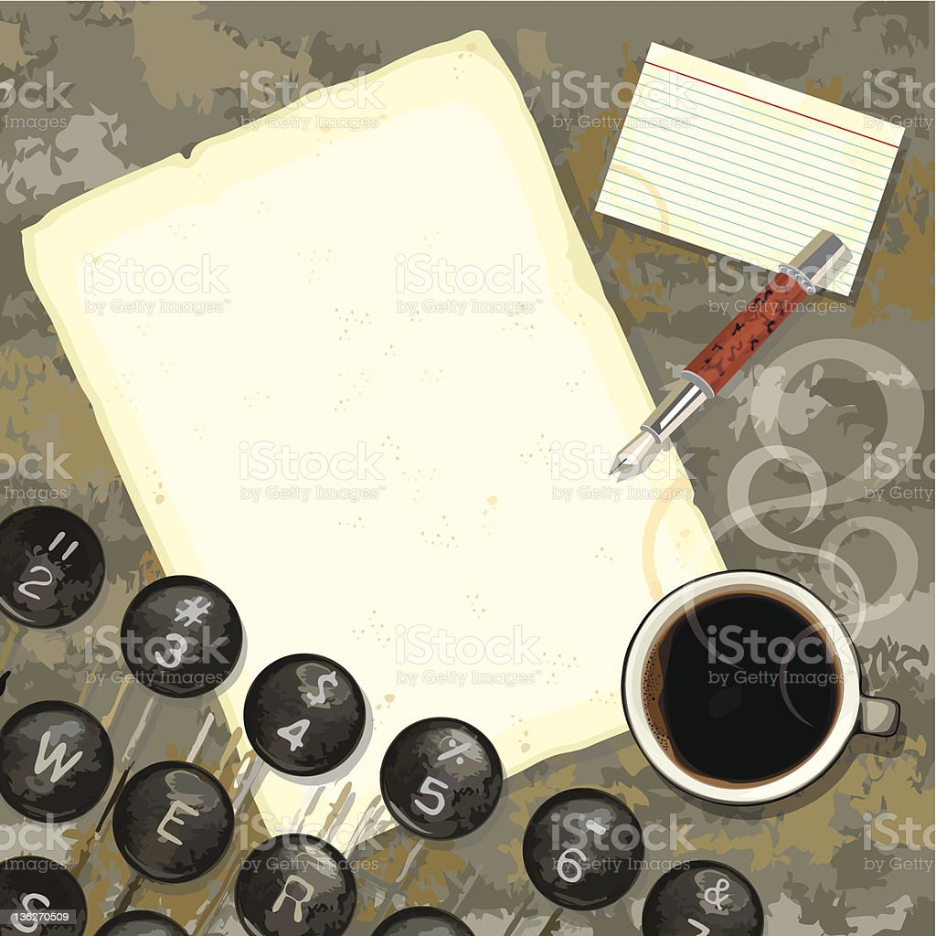Grungy Writer's desk with typewriter and coffee royalty-free stock vector art