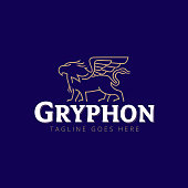Gryphon vector illustration for commercial use line art style
