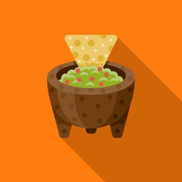 ilustrações, clipart, desenhos animados e ícones de guacamole design plano méxico ícone com sombra do lado - guacamole