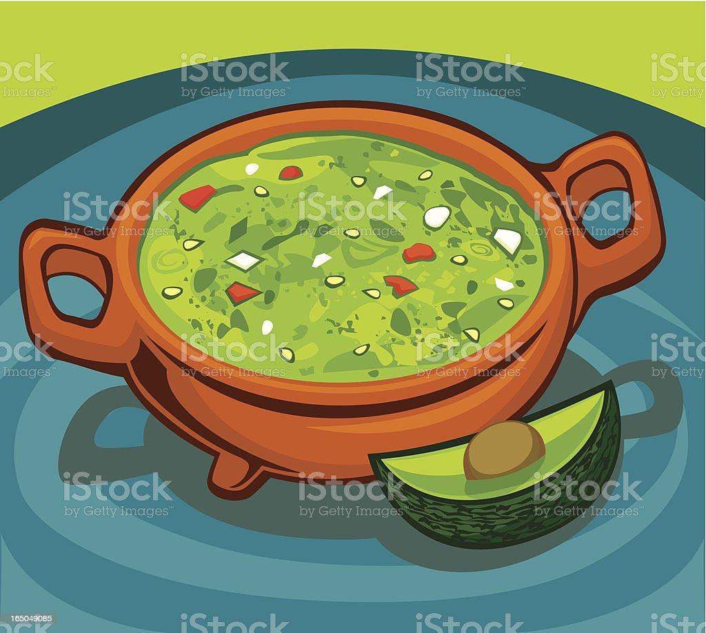 Guacamole in an earthenware pot vector art illustration