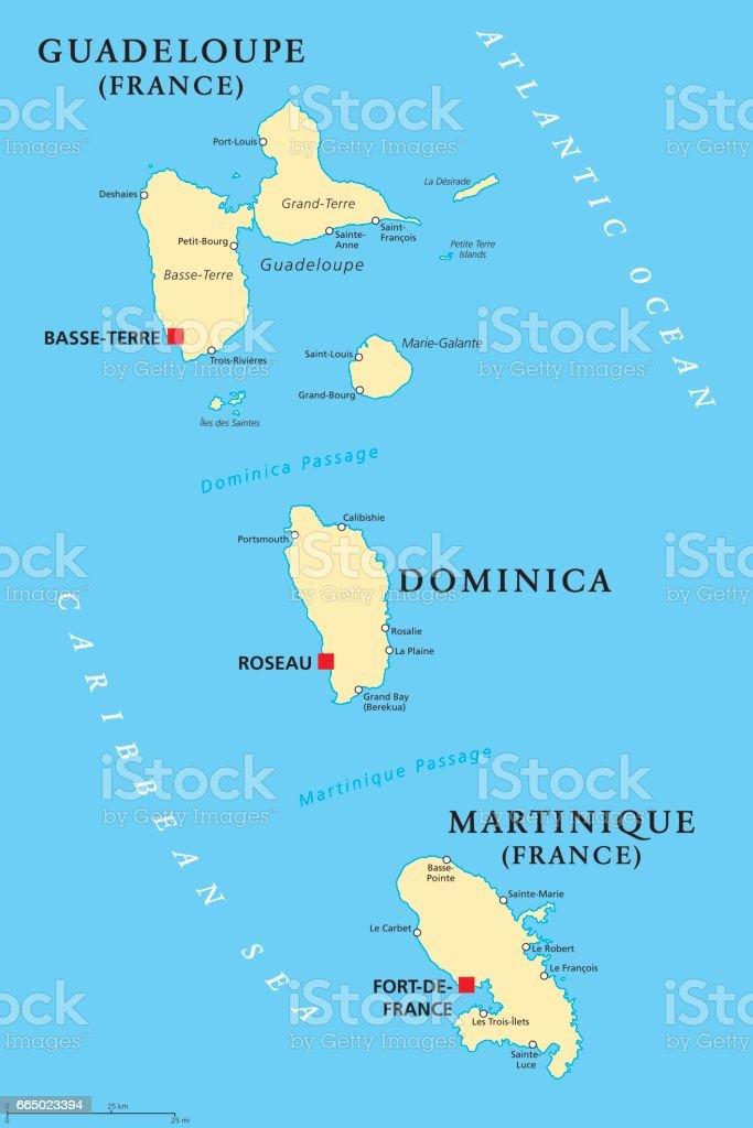 Guadeloupe, Dominica and Martinique political map vector art illustration