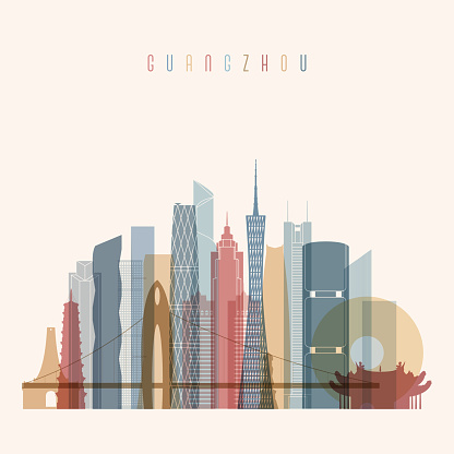 Guangzhou skyline detailed silhouette. Transparent style.