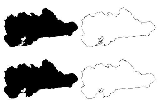 Guantanamo Province (Republic of Cuba, Provinces of Cuba) map vector illustration, scribble sketch Guantanamo map