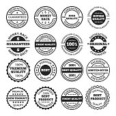 Guarantee badges and logos design set. Vector monochrome pictures with place for your text