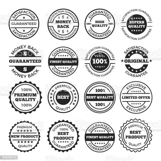 Guarantee badges and logos design set vector monochrome pictures with vector id846386292?b=1&k=6&m=846386292&s=612x612&h=eg3icu9oilv5pulrwojhtlvmidnboofxulsptfufyxy=