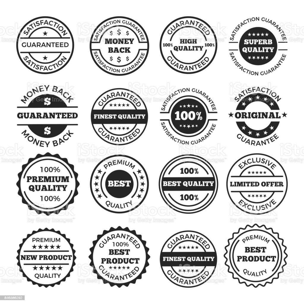 Guarantee badges and logos design set. Vector monochrome pictures with place for your text vector art illustration