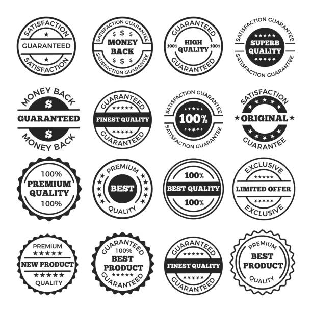 guarantee badges and logos design set. vector monochrome pictures with place for your text - logo stock illustrations, clip art, cartoons, & icons