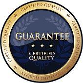 Guarantee gold emblem with a laurel.