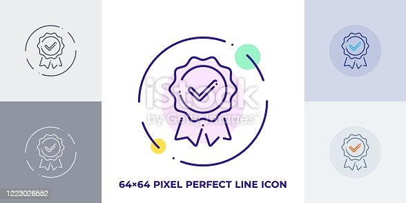 istock Guarantee line art vector icon. Outline symbol of quality emblem with checkmark. Warranty pictogram made of thin stroke. Isolated on background. 1223026552