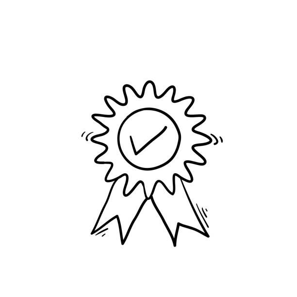 illustrations, cliparts, dessins animés et icônes de garantie ou médaille mince icône de ligne. concept d'emblème ou d'assurance minimal de contrôle des consommateurs. vecteur d'illustration de griffonnage dessiné à la main - aide soignant