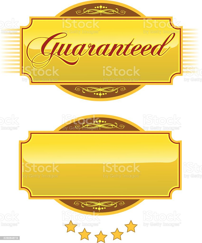 Guaranteed Engraved Gold Plaques and Nameplates vector art illustration