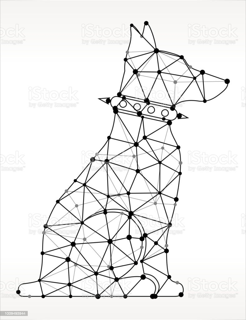 Guard Dog Triangle Node Black and White Pattern. The main object...