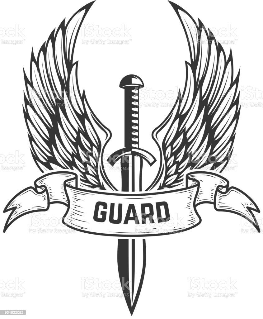 Guarda. Espada medieval com asas. Elemento de design para o rótulo, sinal, emblema, distintivo. - ilustração de arte em vetor
