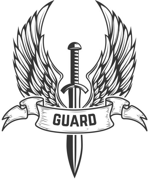 guard. medieval sword with wings. design element for  label, emblem, sign, badge. - swords tattoos stock illustrations, clip art, cartoons, & icons