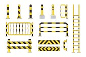 Guard post sentry yellow and black collection, icon flat column bollard set vector illustration