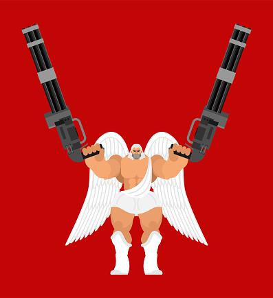 Guardian angel and Minigun. Warrior archangel and  Gattling gun. Battle saint patron