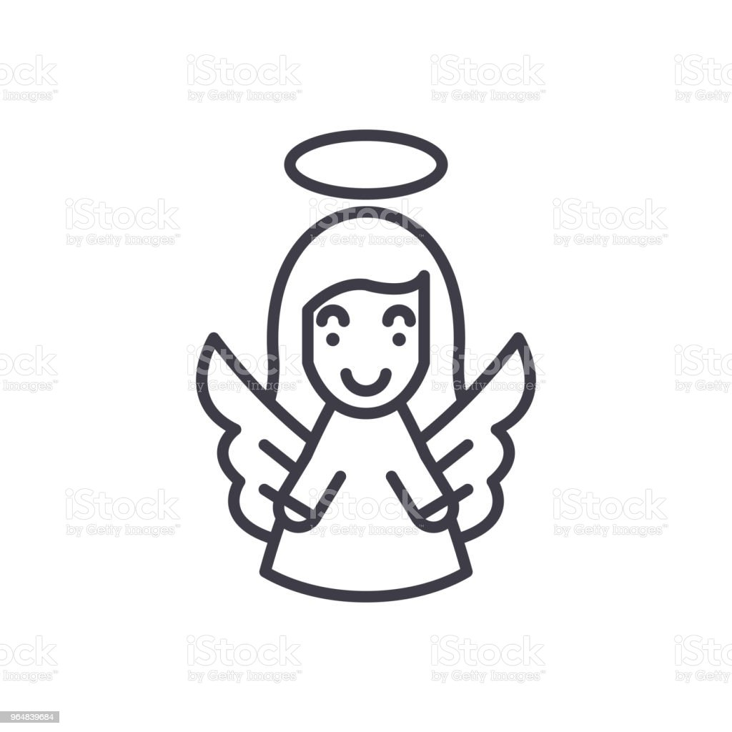 Guardian angel black icon concept. Guardian angel flat  vector symbol, sign, illustration. royalty-free guardian angel black icon concept guardian angel flat vector symbol sign illustration stock vector art & more images of abstract