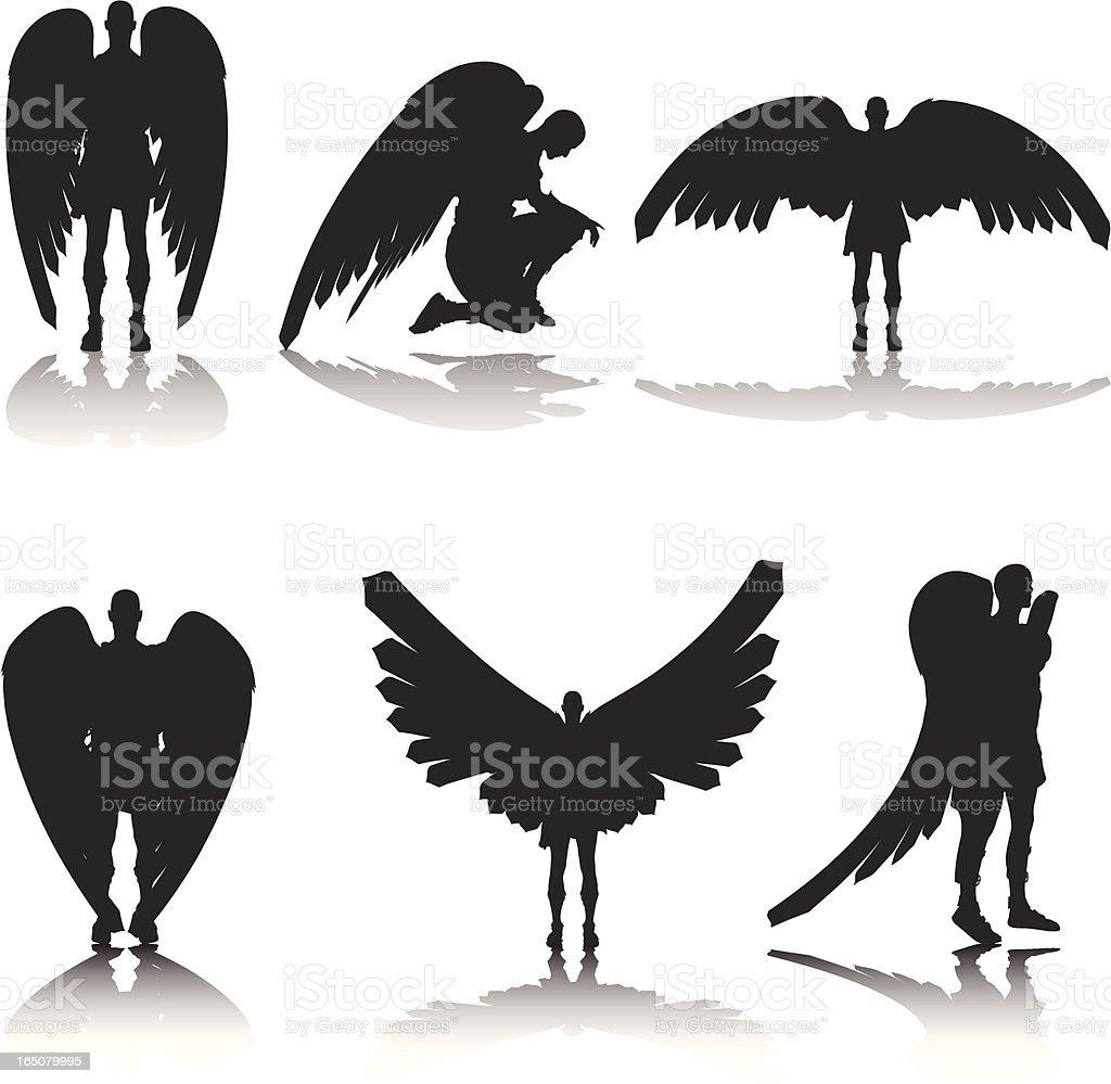 Guardian ángel Silueta de colección - ilustración de arte vectorial