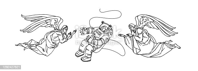 guardian angels rescue an astronaut in outer space, vector illustration