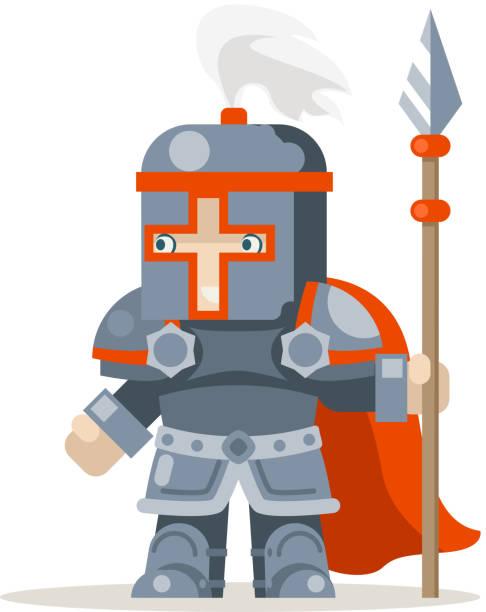 Illustration vectorielle d'animation personnage prêt en couches Guardian lance Chevalier lancier fantasy médiévale action personnages de jeu RPG - Illustration vectorielle