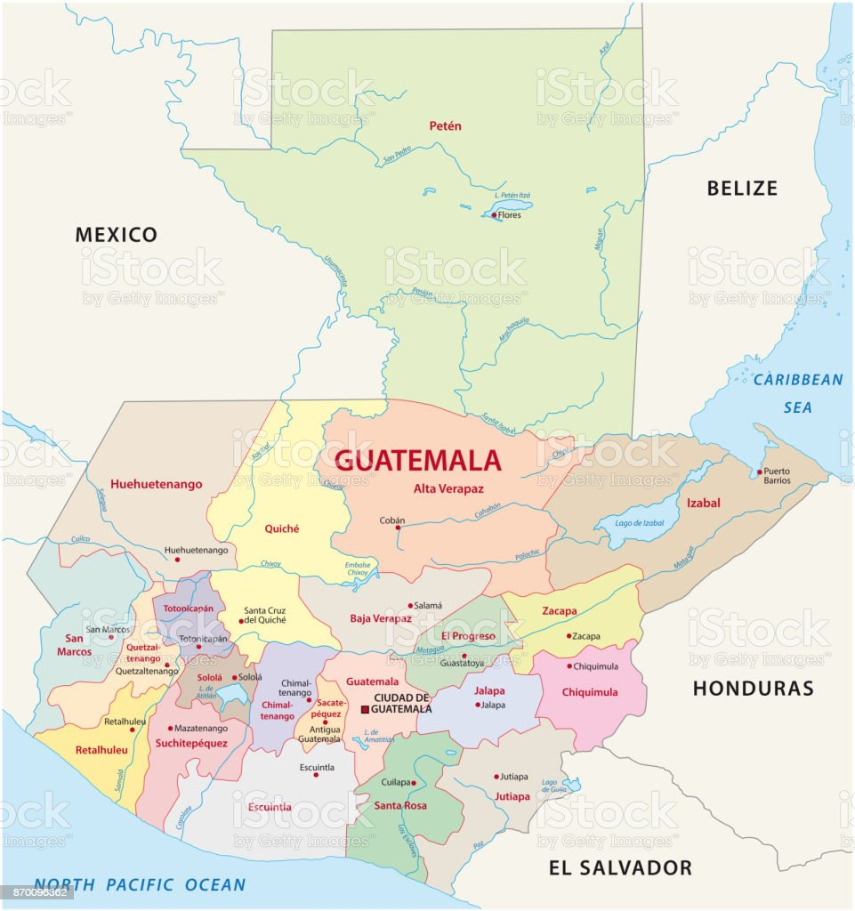 Guatemala Administrative And Political Map Stock Vector Art More