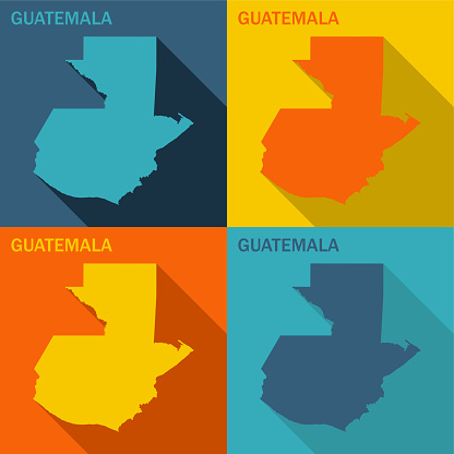 Guatemala flat map available in four colors