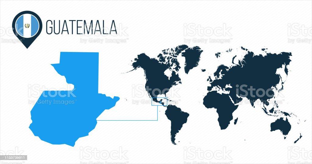 Guatemalakarte Auf Einer Weltkarte Mit Flagge Und Kartenzeiger Oder ...