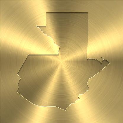 Guatemala map on gold background - Circular brushed metal texture