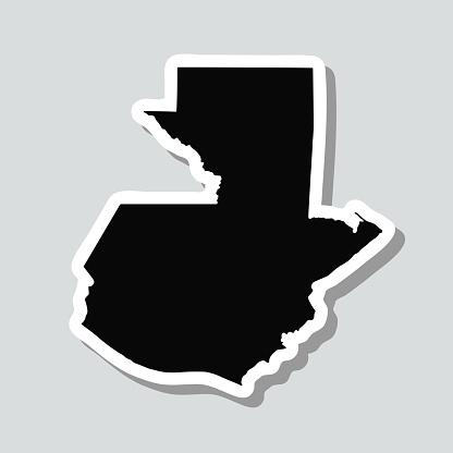 Guatemala map sticker on gray background