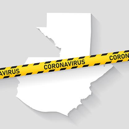 Guatemala map with Coronavirus caution tape. Covid-19 outbreak