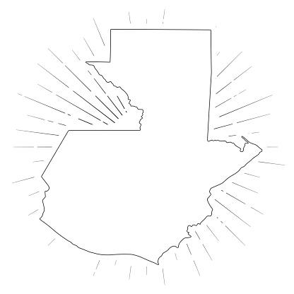 Guatemala map with sunbeams on white background