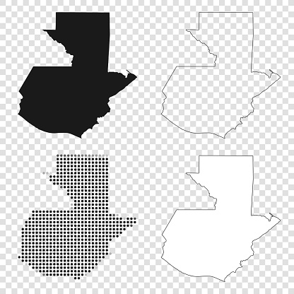 Guatemala maps for design - Black, outline, mosaic and white