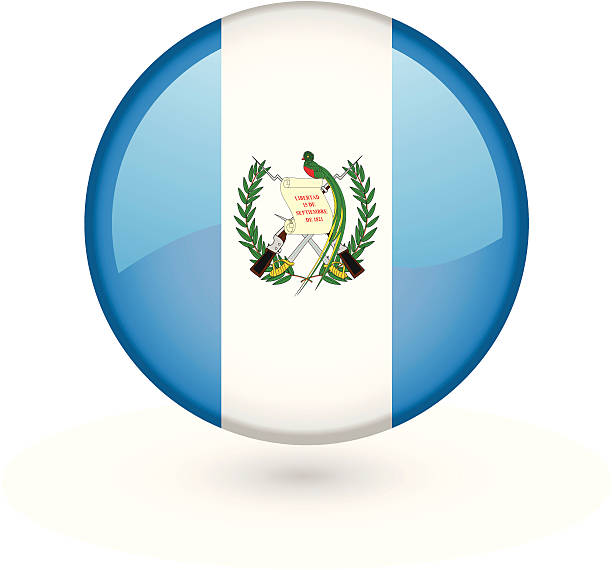Guatemalan flag vector button vector art illustration